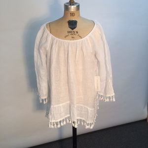 NWT Saks Fifth Avenue Woman's 100% Linen Tunic Top